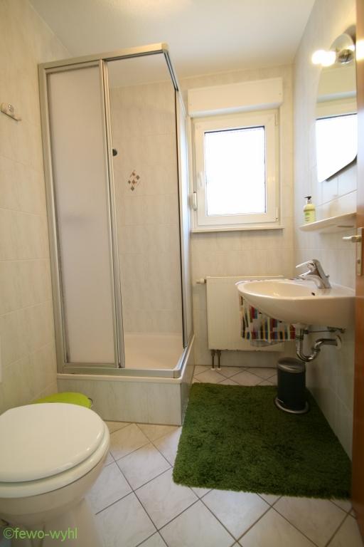 Bad und Duschbereich der Ferienwohnung in Wyhl